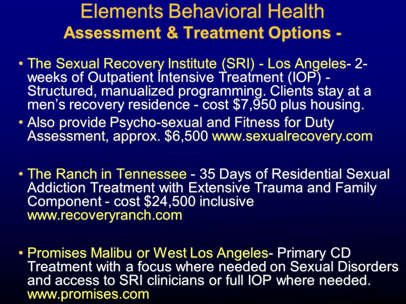 Elements Behavioral Health Assessment & Treatment Options -
