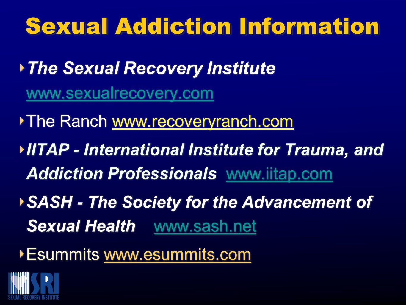 Sexual Addiction Information