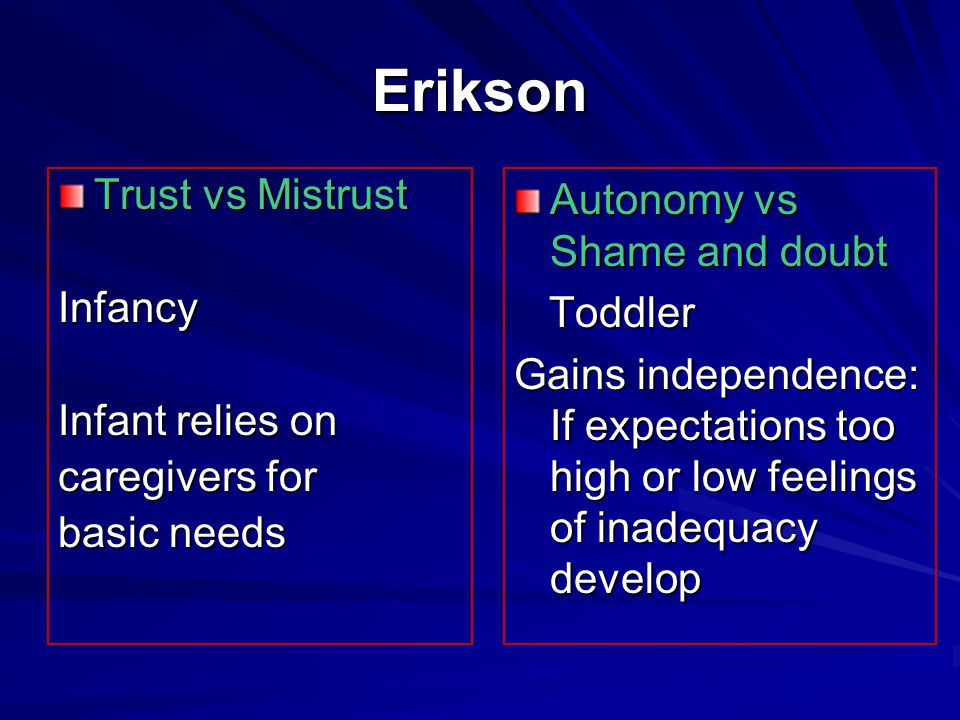Erikson Trust vs Mistrust Infancy Infant relies on caregivers for
