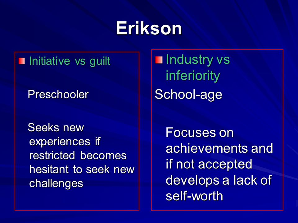 Erikson Industry vs inferiority School-age