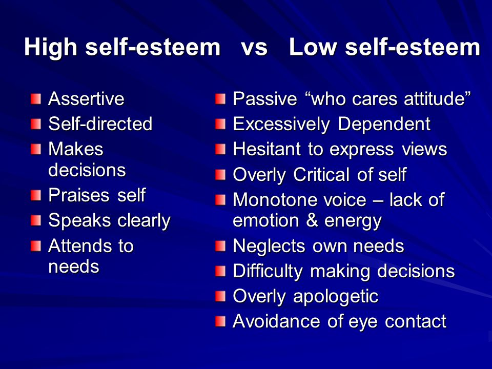 High self-esteem vs Low self-esteem