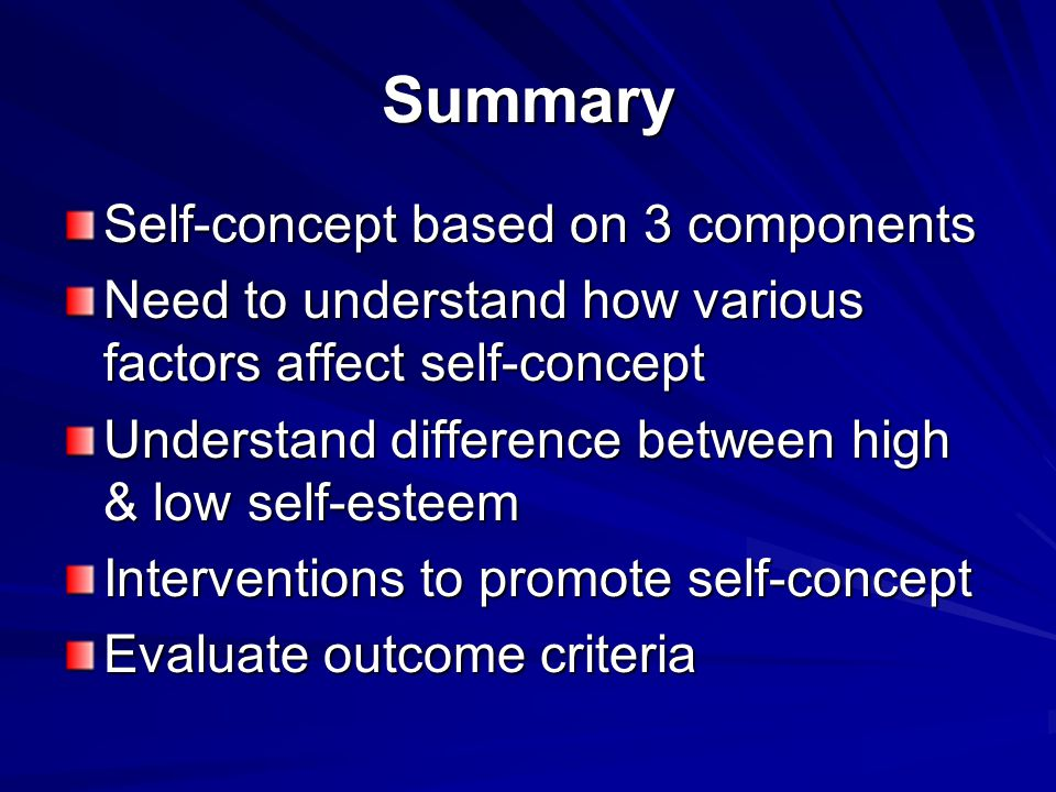 Summary Self-concept based on 3 components