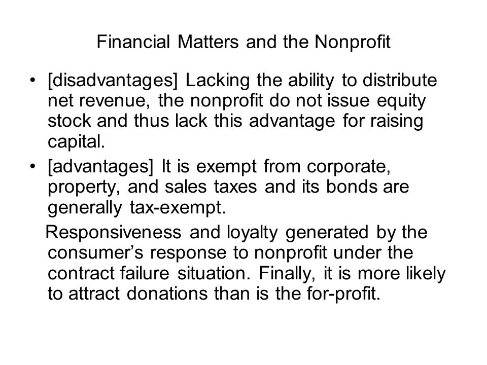 Financial Matters and the Nonprofit