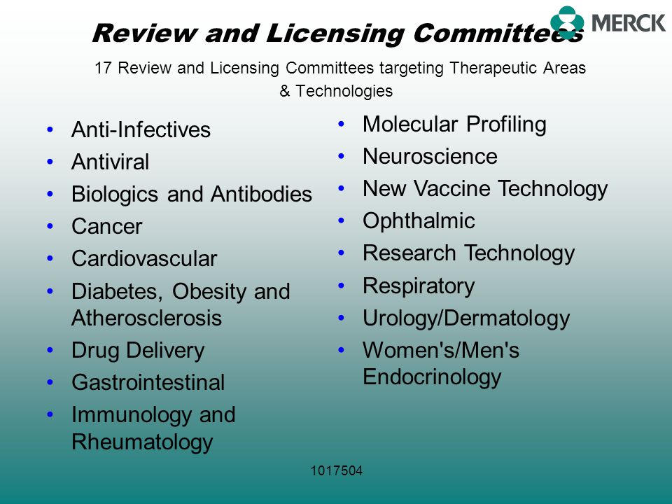 Review and Licensing Committees 17 Review and Licensing Committees targeting Therapeutic Areas & Technologies
