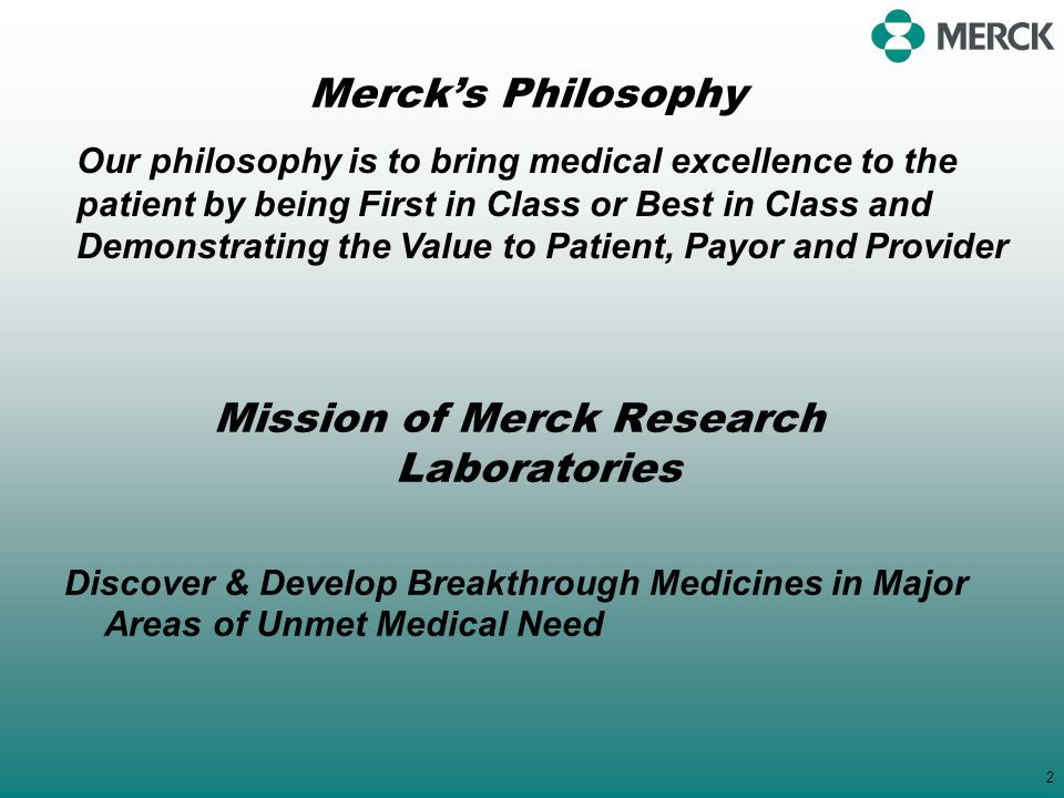 Mission of Merck Research Laboratories