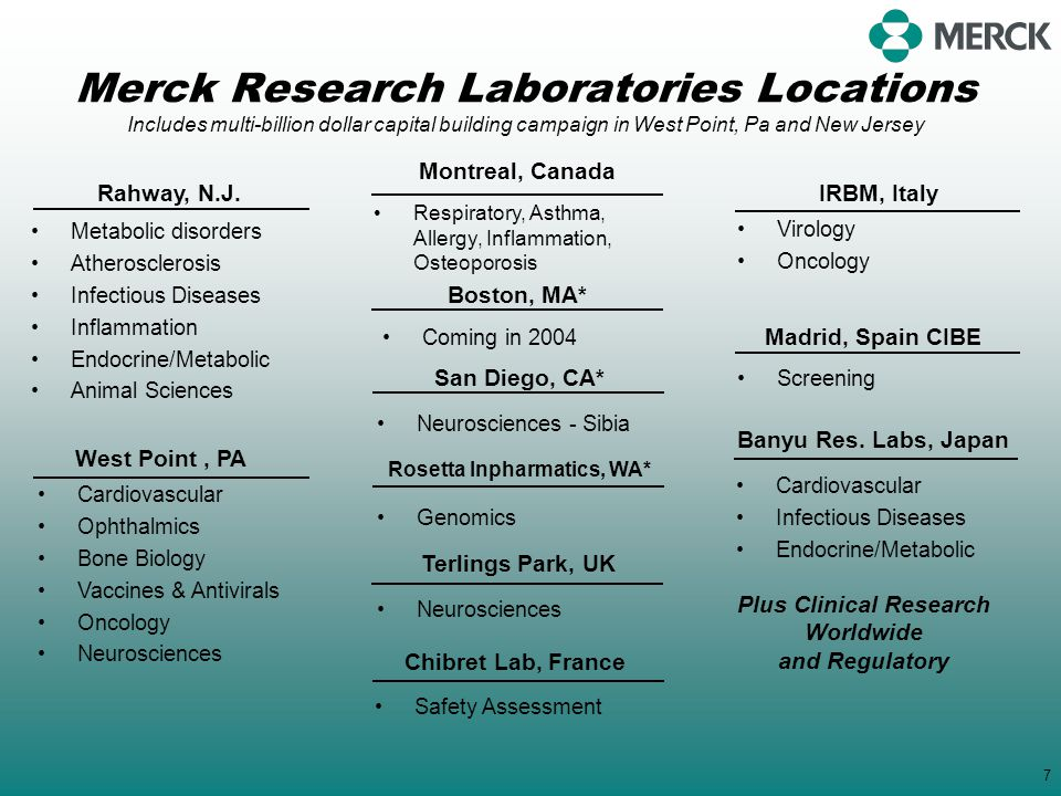 Merck Research Laboratories Locations Includes multi-billion dollar capital building campaign in West Point, Pa and New Jersey