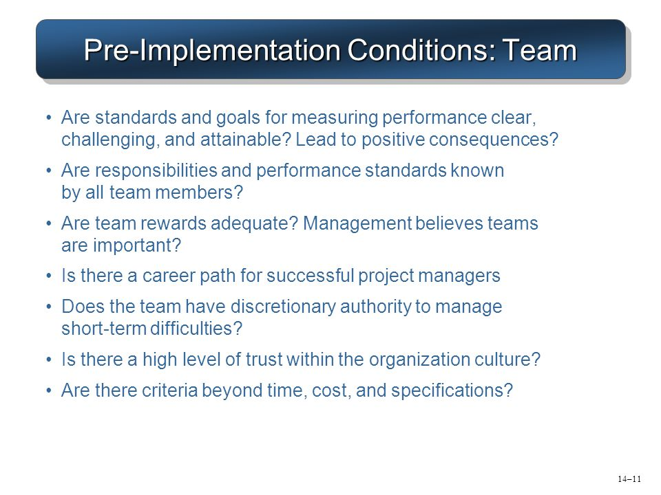 Pre-Implementation Conditions: Team