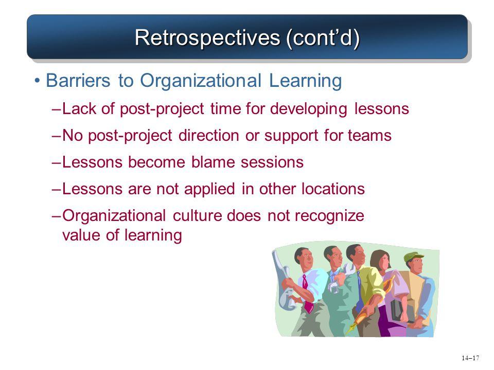 Retrospectives (cont'd)