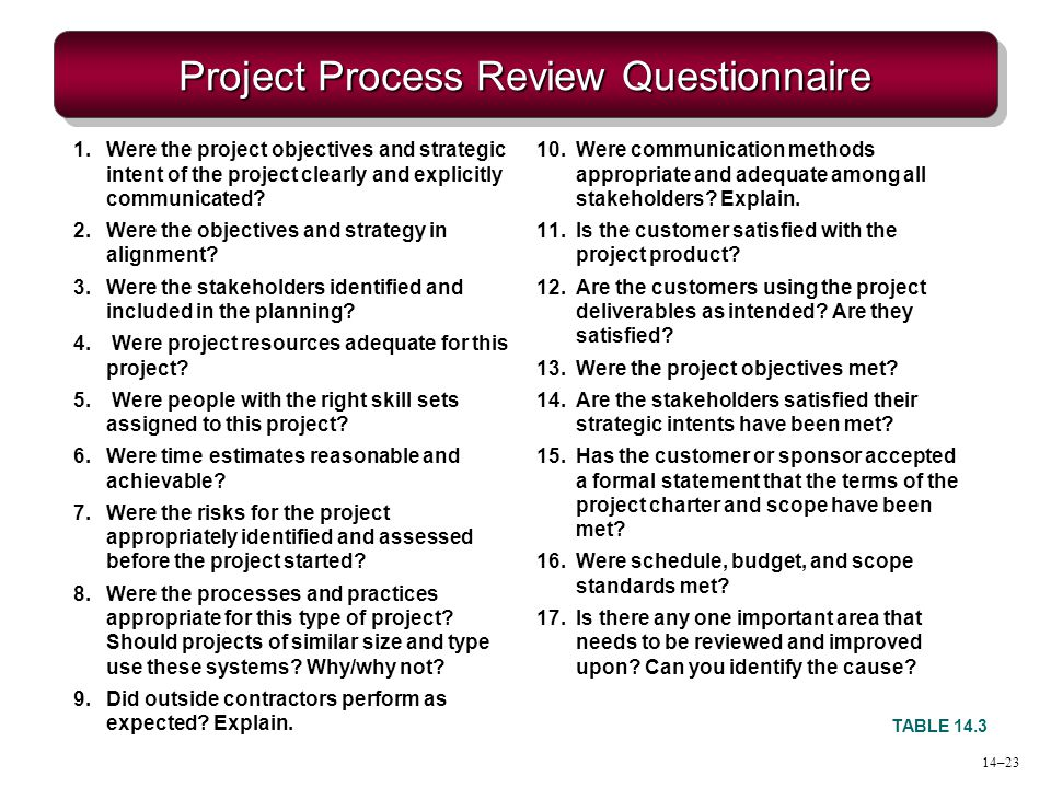 Project Process Review Questionnaire