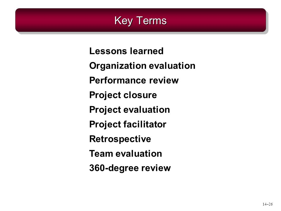 Key Terms Lessons learned Organization evaluation Performance review