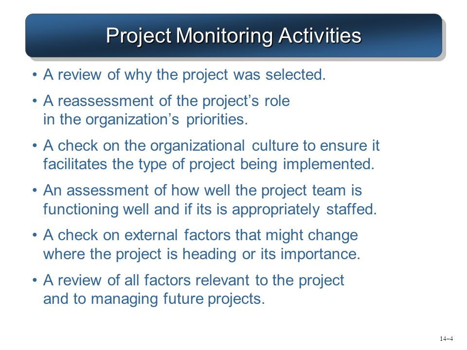 Project Monitoring Activities