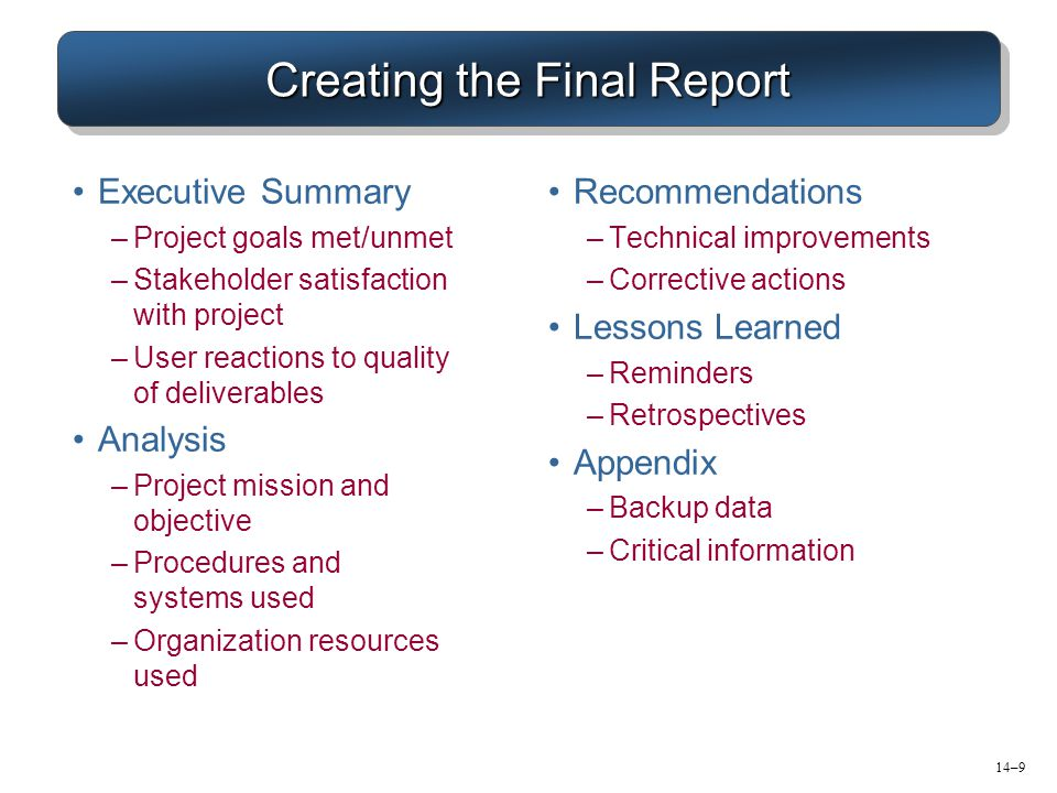 Creating the Final Report