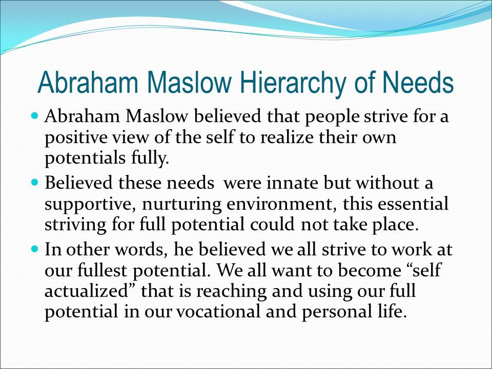 Abraham Maslow Hierarchy of Needs