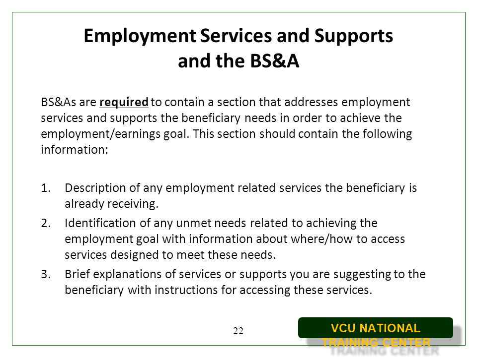 Employment Services and Supports and the BS&A