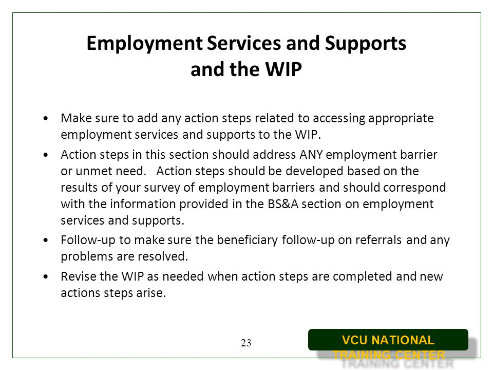 Employment Services and Supports and the WIP