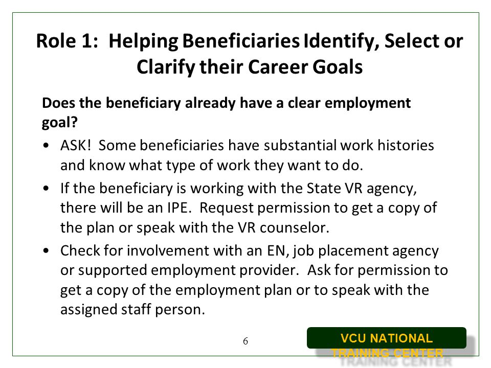 Role 1: Helping Beneficiaries Identify, Select or Clarify their Career Goals