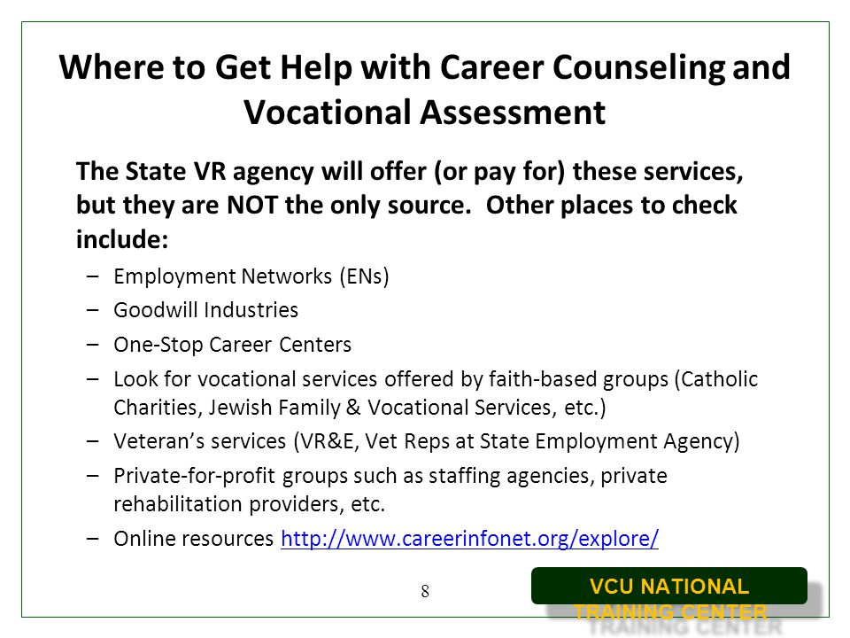 Where to Get Help with Career Counseling and Vocational Assessment