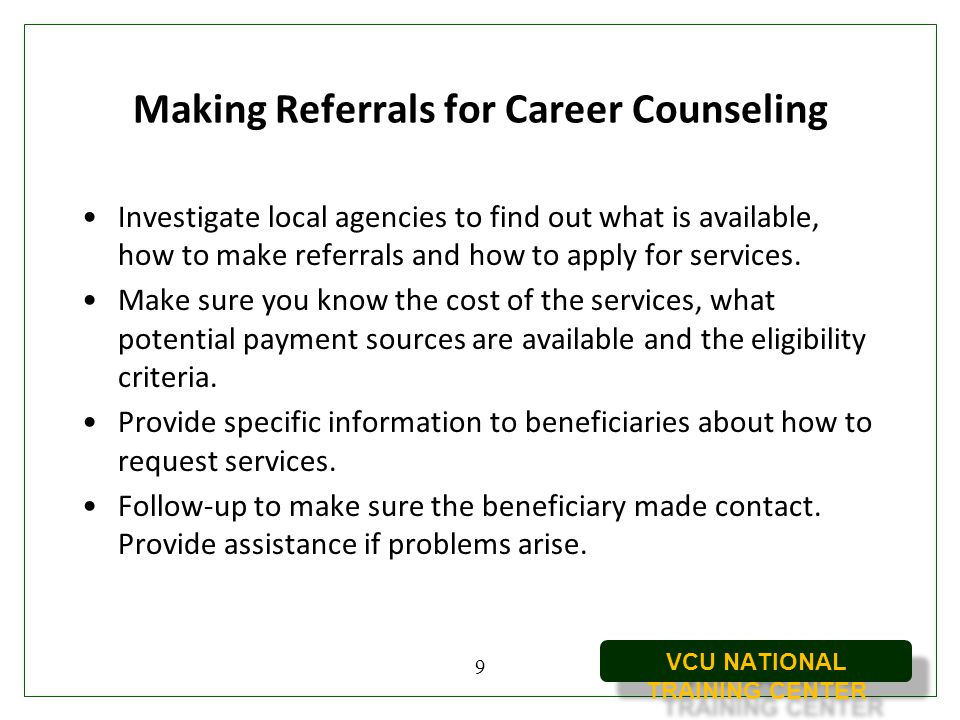 Making Referrals for Career Counseling