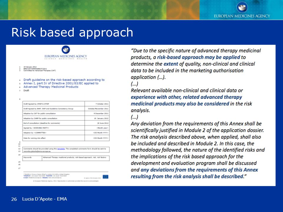 Risk based approach 26 Lucia D Apote - EMA