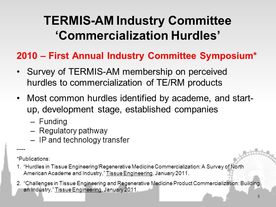TERMIS-AM Industry Committee 'Commercialization Hurdles'