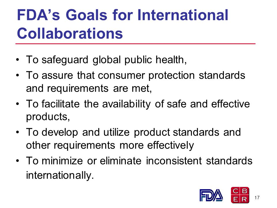 FDA's Goals for International Collaborations