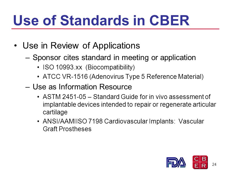 Use of Standards in CBER