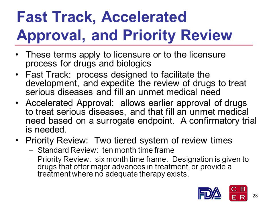 Fast Track, Accelerated Approval, and Priority Review