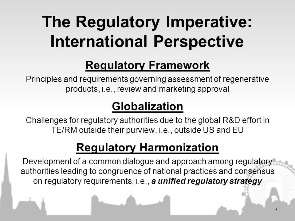 The Regulatory Imperative: International Perspective