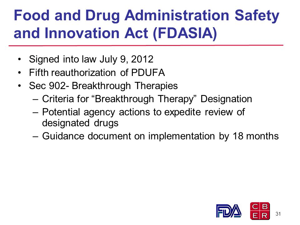 Food and Drug Administration Safety and Innovation Act (FDASIA)