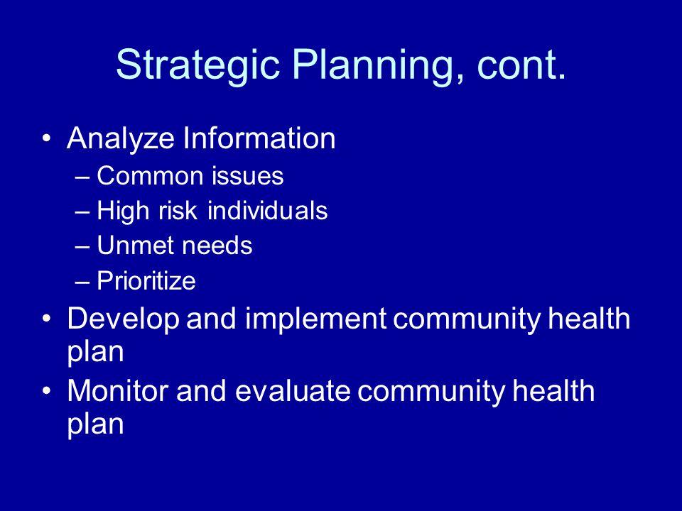 Strategic Planning, cont.