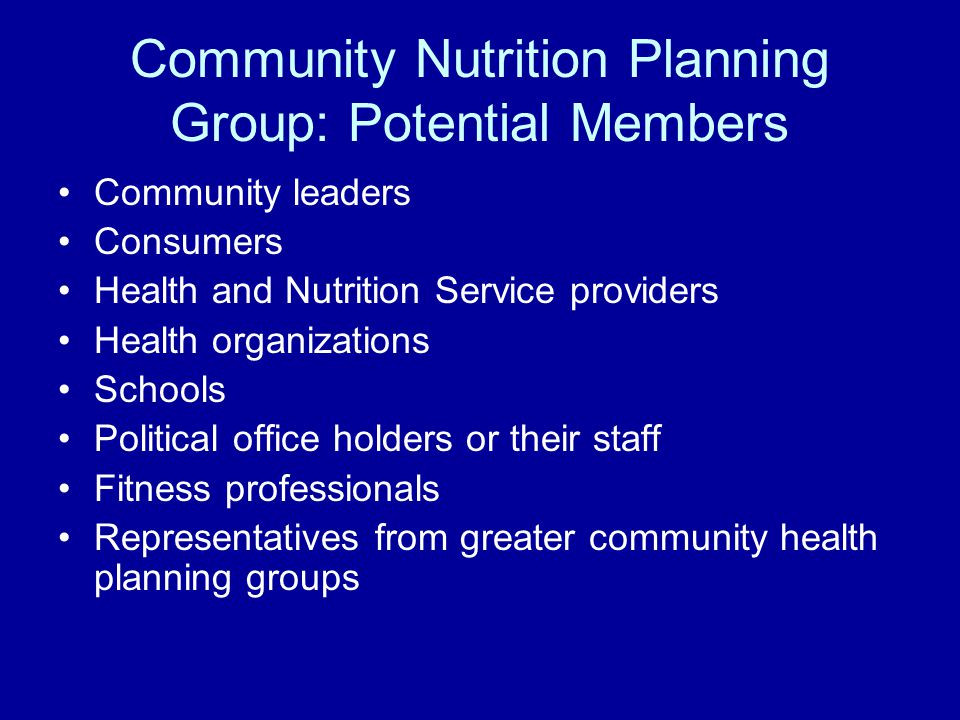 Community Nutrition Planning Group: Potential Members