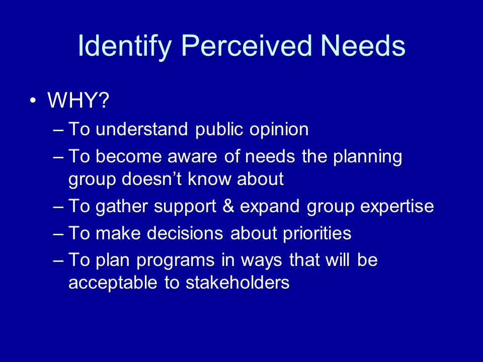 Identify Perceived Needs