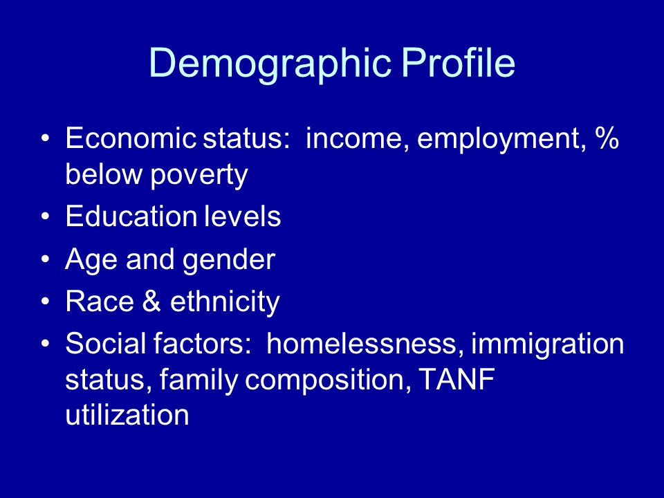 Demographic Profile Economic status: income, employment, % below poverty. Education levels. Age and gender.