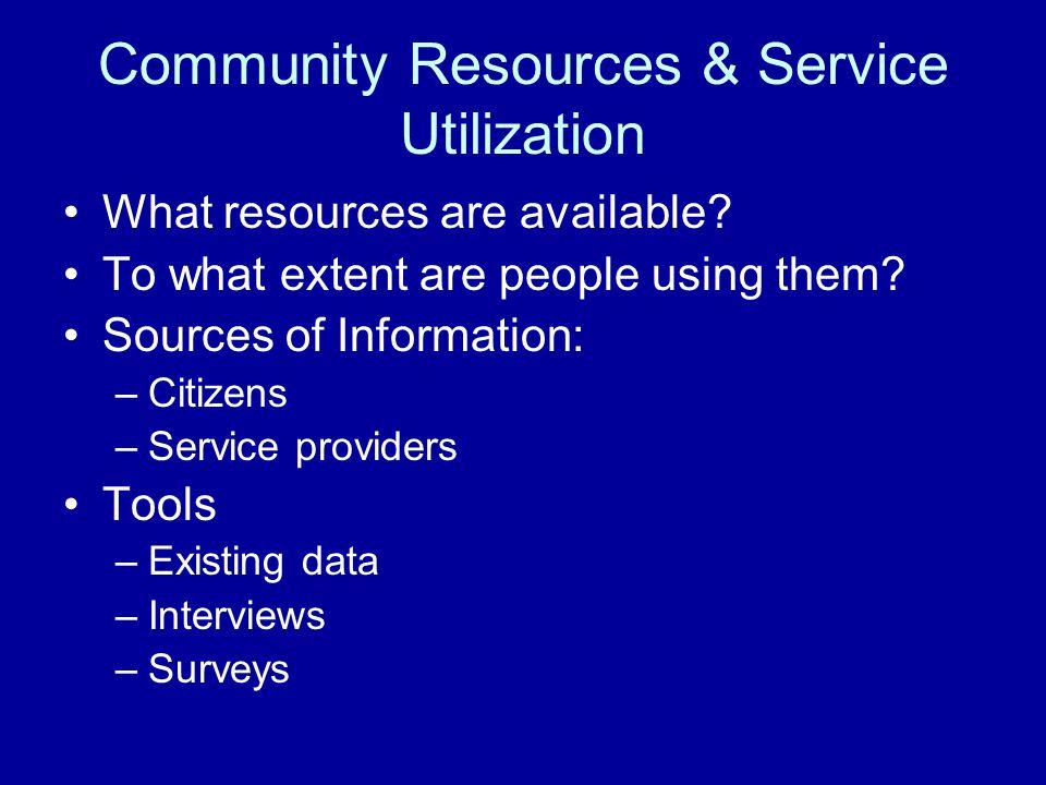 Community Resources & Service Utilization