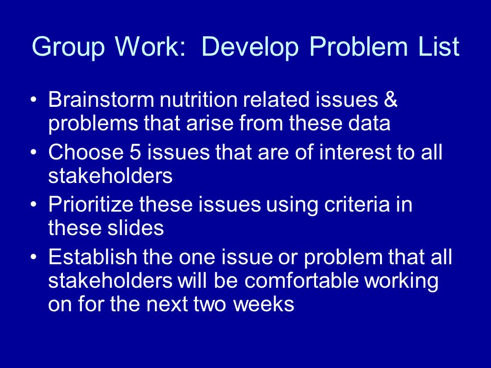 Group Work: Develop Problem List