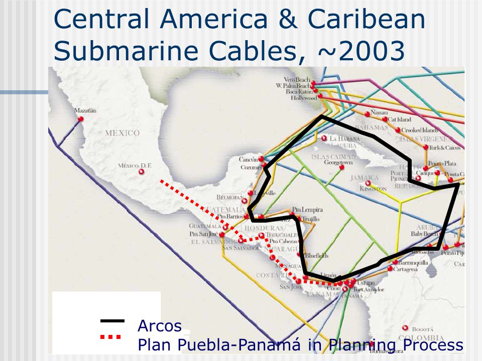 Central America & Caribean Submarine Cables, ~2003