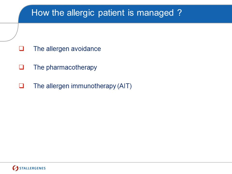 How the allergic patient is managed