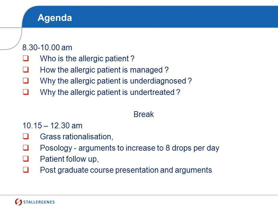 Agenda 8.30-10.00 am Who is the allergic patient