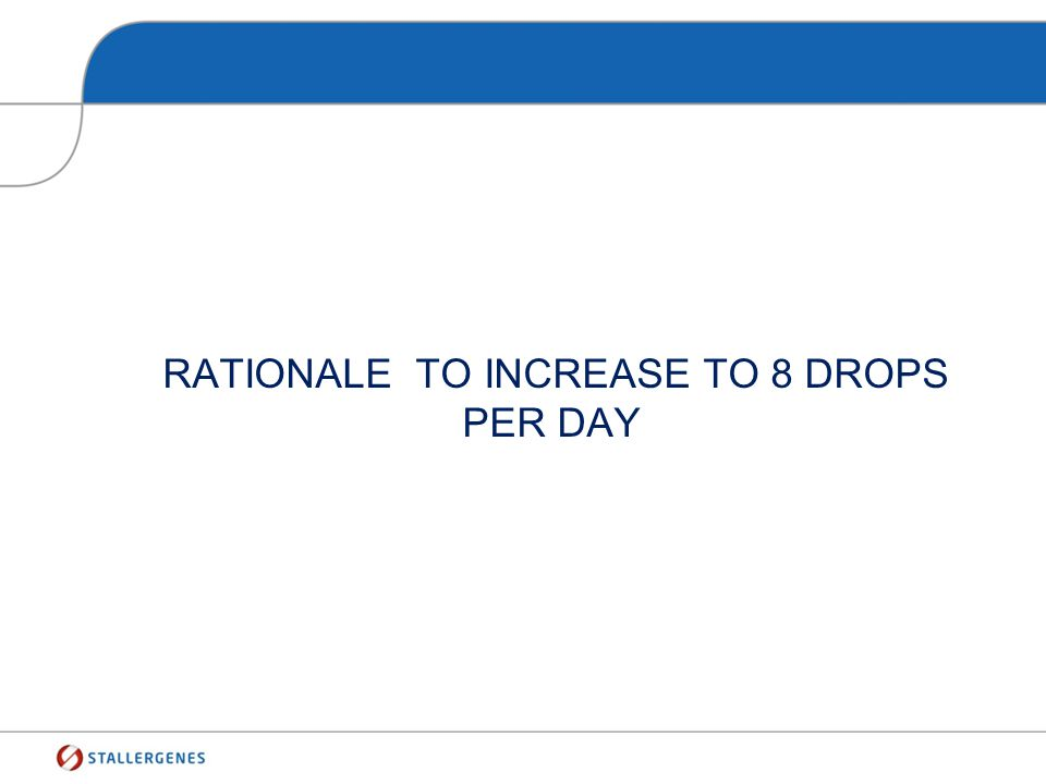 Rationale to increase to 8 drops per day