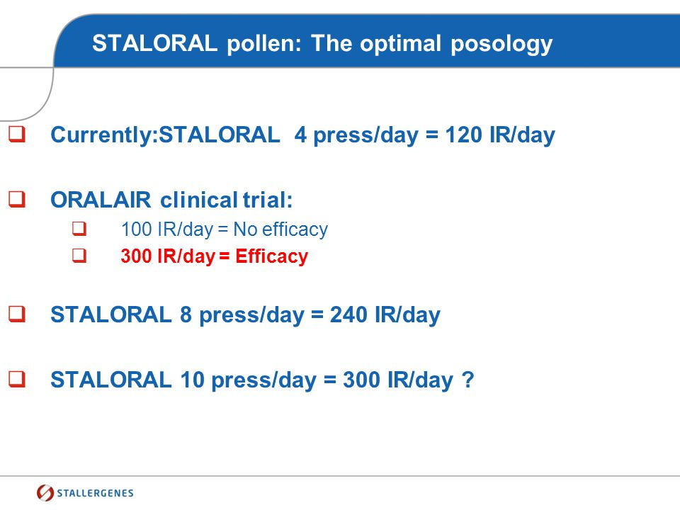 STALORAL pollen: The optimal posology