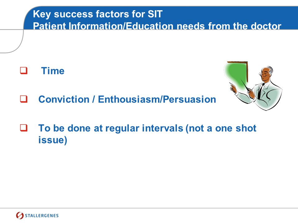 Key success factors for SIT Patient Information/Education needs from the doctor