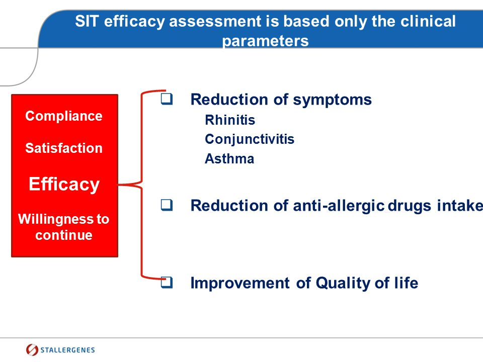 SIT efficacy assessment is based only the clinical parameters