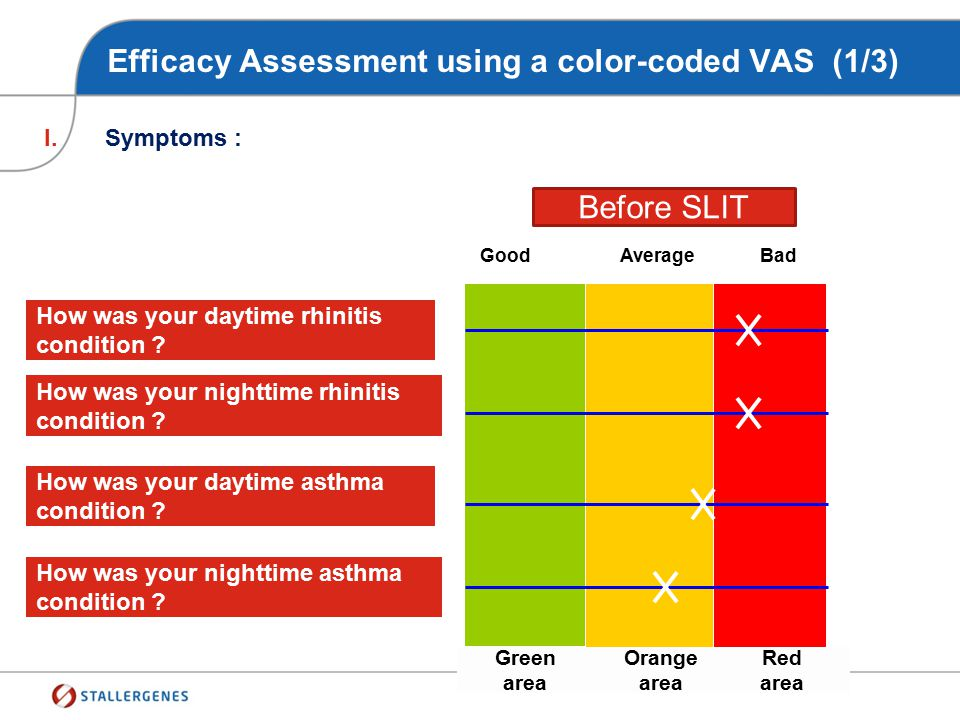 Efficacy Assessment using a color-coded VAS (1/3)