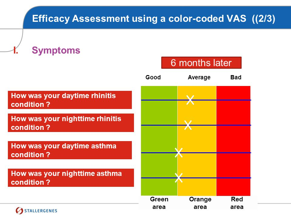 Efficacy Assessment using a color-coded VAS ((2/3)
