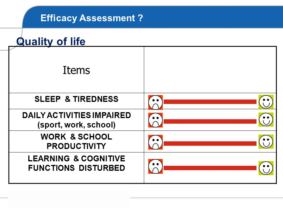 Items Quality of life Efficacy Assessment SLEEP & TIREDNESS