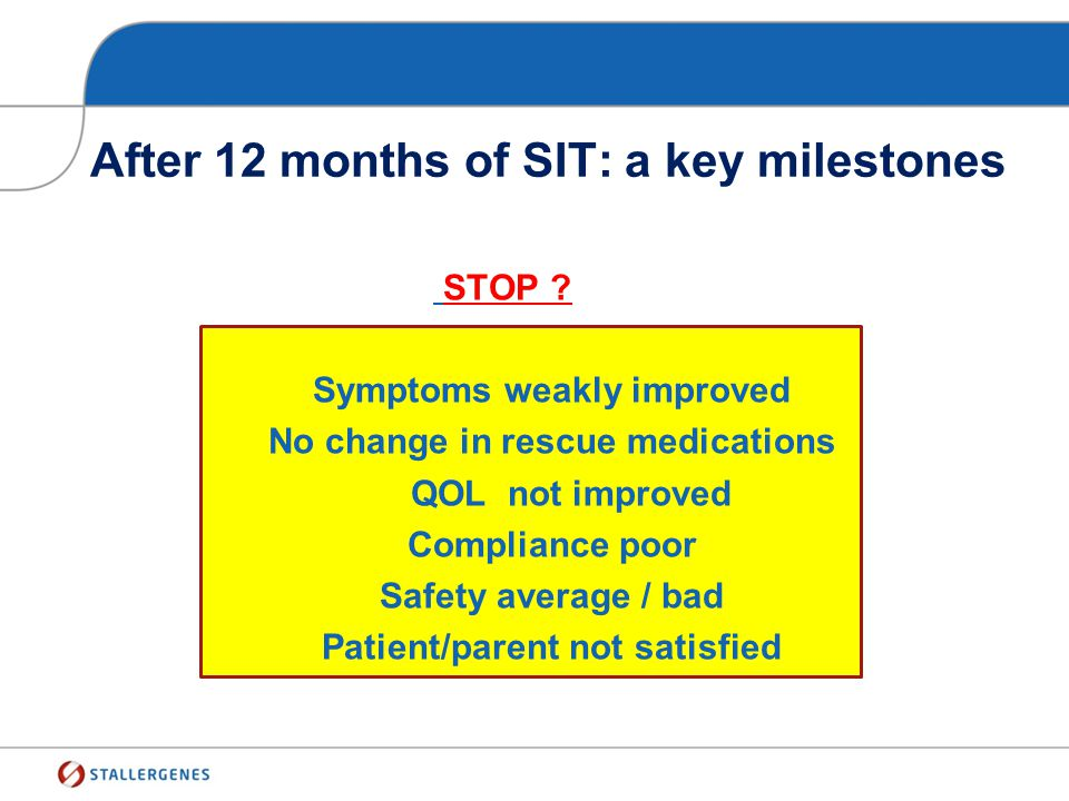 After 12 months of SIT: a key milestones