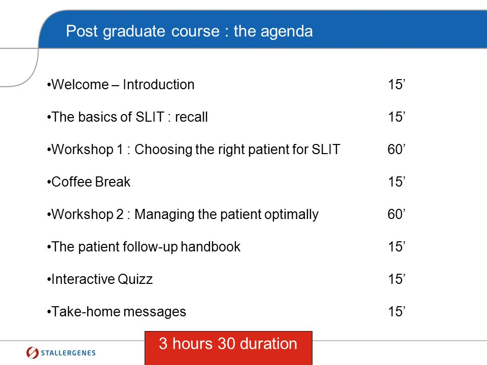 Post graduate course : the agenda