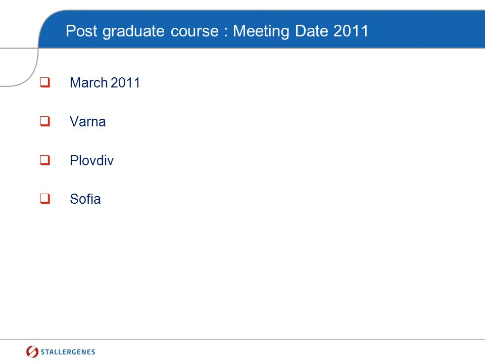 Post graduate course : Meeting Date 2011