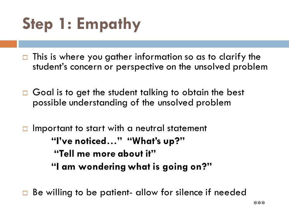 Step 1: Empathy This is where you gather information so as to clarify the student's concern or perspective on the unsolved problem.