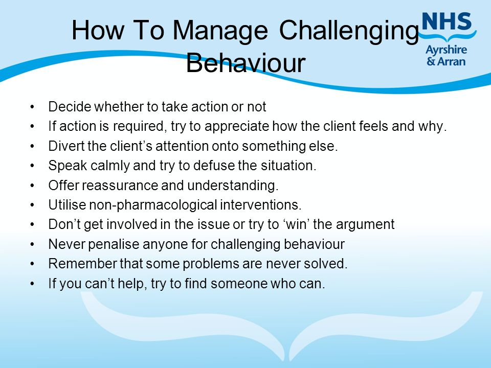 How To Manage Challenging Behaviour